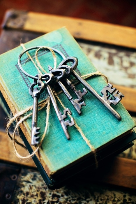 old keys and books