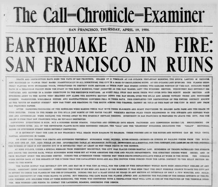 SF Earthquake Newspaper