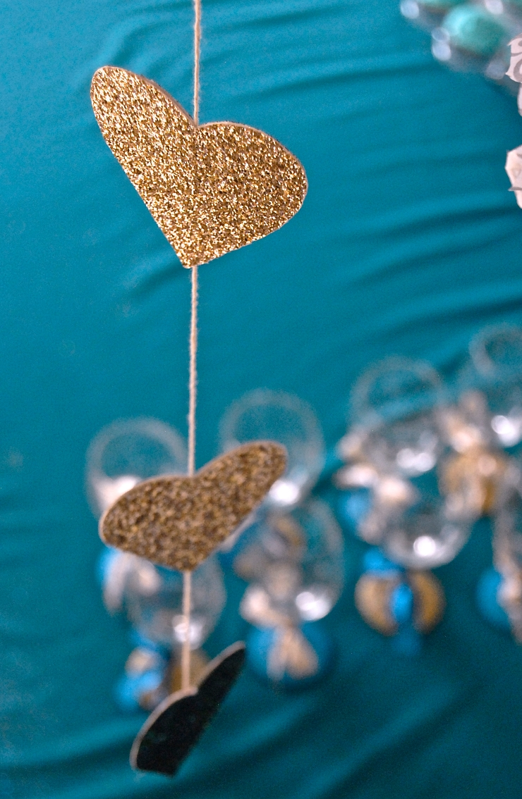 Glitter Bridal Shower Heart Garland