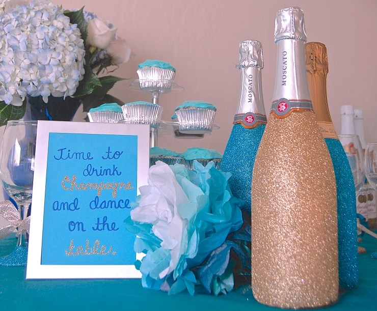 Glitter Bridal Shower Table Setup